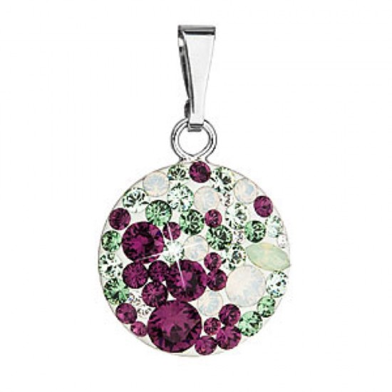 Stříbrný přívěsek s krystaly Swarovski mix barev kulatý 34225.3 amethyst plum