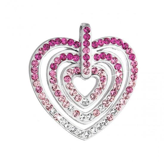 Stříbrný přívěsek s krystaly Swarovski růžové srdce 34152.3