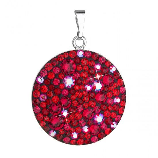 Stříbrný přívěsek s krystaly Swarovski červený kulatý 34131.3 cherry