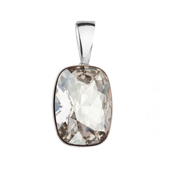 Stříbrný přívěsek s krystaly Swarovski šedý obdélník 34244.5 silver shade