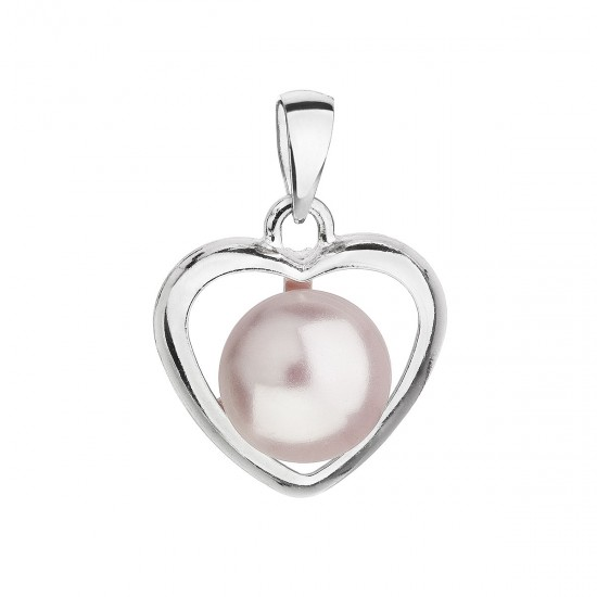Stříbrný přívěsek s růžovou perlou srdce 34246.3