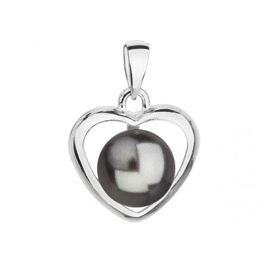 Stříbrný přívěsek s šedou perlou srdce 34246.3