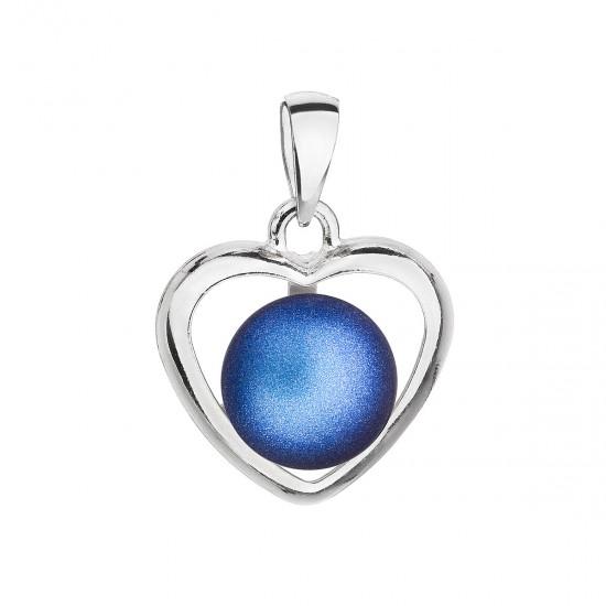 Stříbrný přívěsek s tmavěmodrou matnou perlou srdce 34246.3