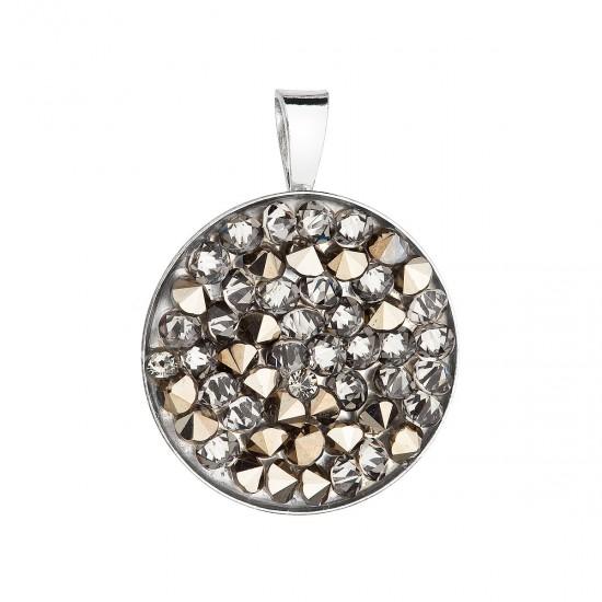 Stříbrný přívěsek s krystaly Swarovski zlatý kulatý 34250.5