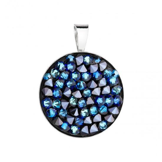 Stříbrný přívěsek s krystaly Swarovski modrý kulatý 34250.5