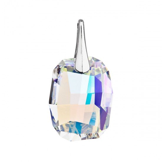 Stříbrný přívěsek s krystaly Swarovski ab efekt obdélník 34254.2
