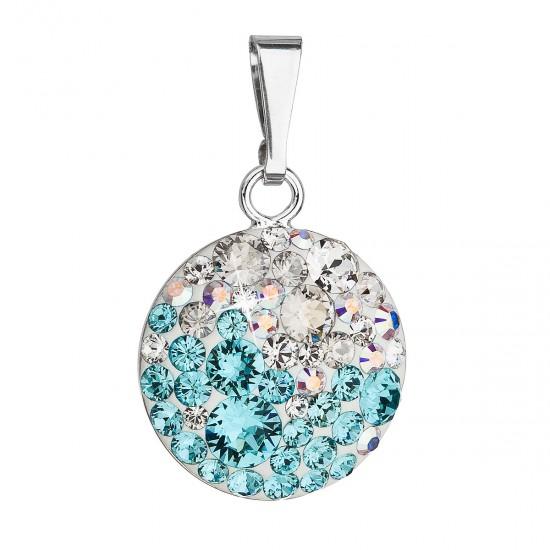Stříbrný přívěsek s krystaly Swarovski modrý kulatý 34225.3 light turquoise