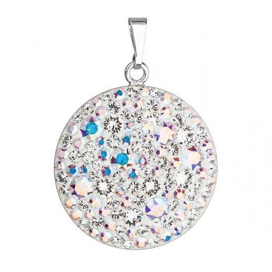 Stříbrný přívěsek s krystaly Swarovski ab efekt kulatý 34131.2