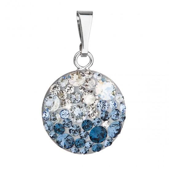 Stříbrný přívěsek s krystaly Swarovski modrý kulatý 34225.3 ice blue