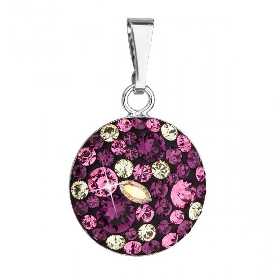 Stříbrný přívěsek s krystaly Swarovski fialový kulatý 34225.3 amethyst