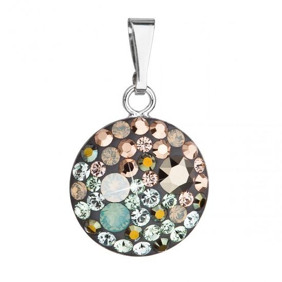 Stříbrný přívěsek s krystaly Swarovski mix barev kulatý 34225.4 chameleon