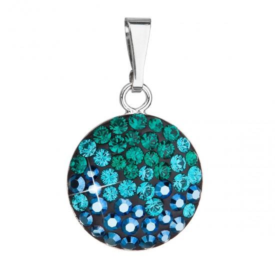 Stříbrný přívěsek s krystaly Swarovski zelený kulatý 34225.3 magic green