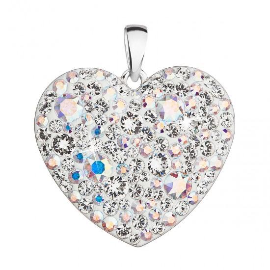 Stříbrný přívěsek s krystaly Swarovski ab efekt srdce 34243.2