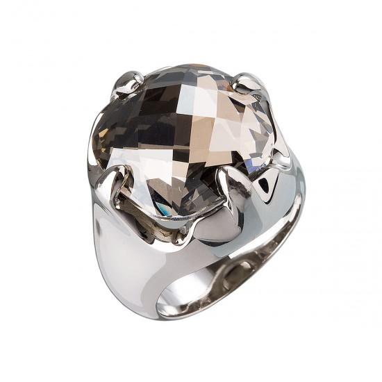 Stříbrný prsten s krystaly šedý 35803.5