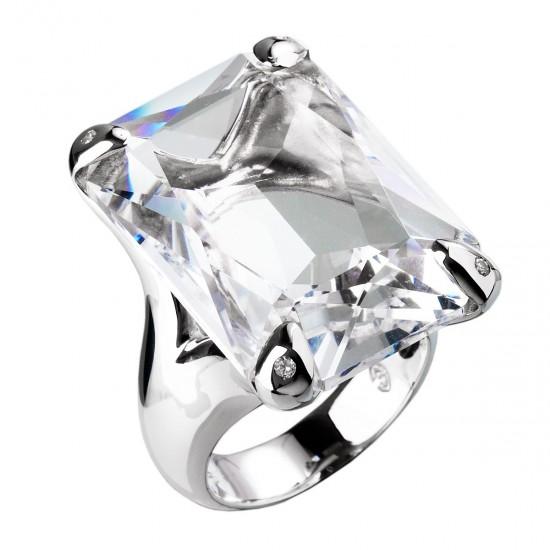 Stříbrný prsten s krystaly Swarovski bílý 35804.1