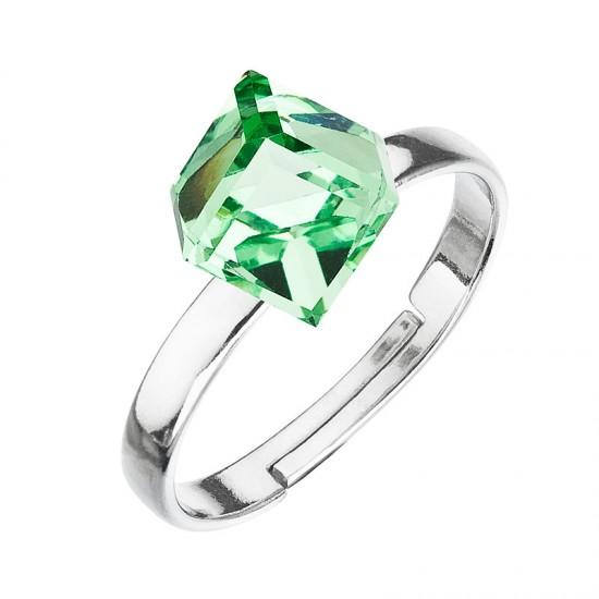 Stříbrný prsten s krystaly zelená kostička 35011.3