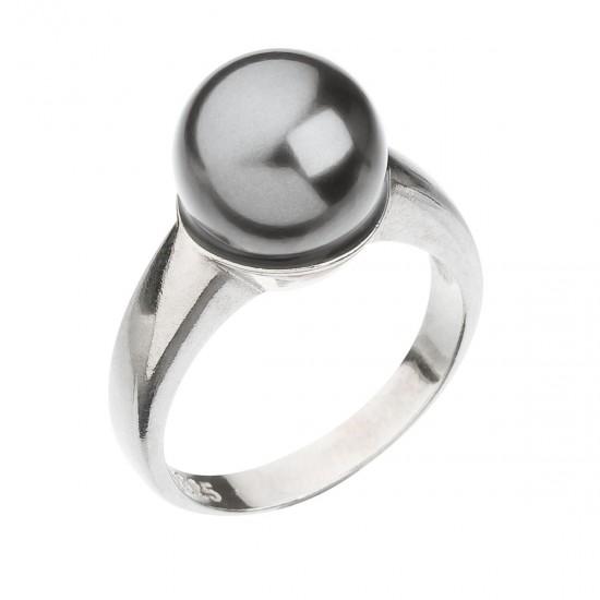 Stříbrný prsten s perlou šedý 35022.3