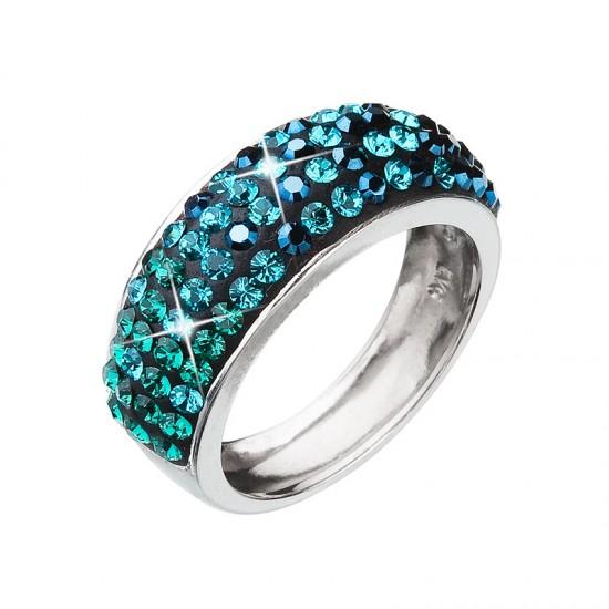 Stříbrný prsten s krystaly mix barev zelený 35027.3 magic green