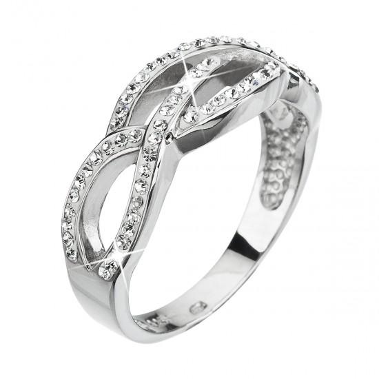 Stříbrný prsten s krystaly Swarovski bílý 35039.1