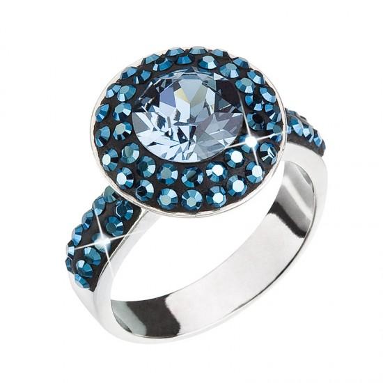 Stříbrný prsten s krystaly modrý 35019.5