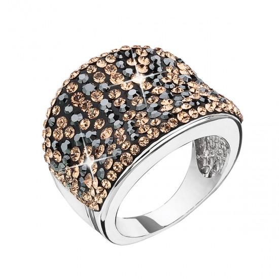 Stříbrný prsten s krystaly Swarovski černo zlatý 35043.4 colorado