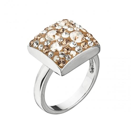 Stříbrný prsten s krystaly Swarovski zlatý 35045.5