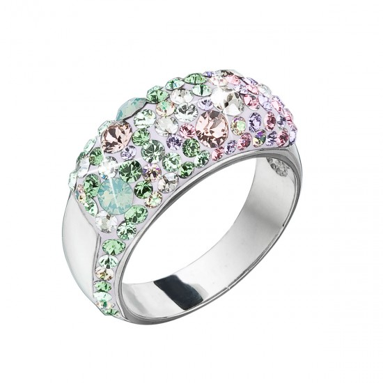 Stříbrný prsten s krystaly Swarovski mix barev 35046.3 sakura
