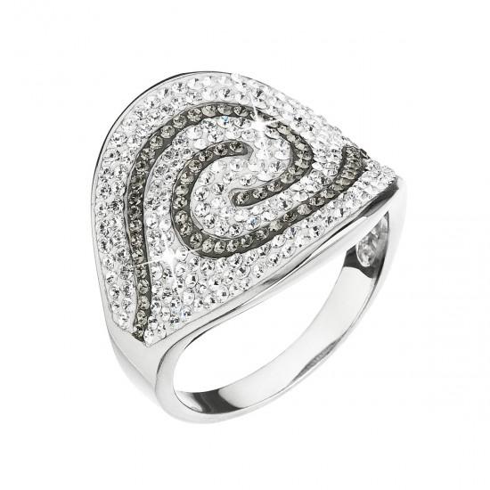 Stříbrný prsten s krystaly Swarovski šedý 35052.3