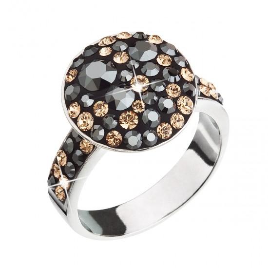 Stříbrný prsten s krystaly Swarovski zlato černý 35054.4 colorado