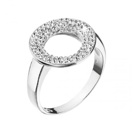 Stříbrný prsten s krystaly Swarovski bílý kruh 35058.1 krystal