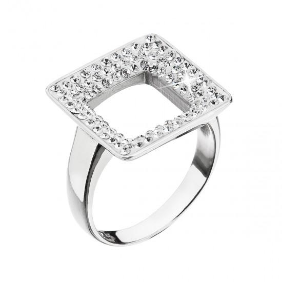 Stříbrný prsten s krystaly Swarovski bílý čtverec 35059.1