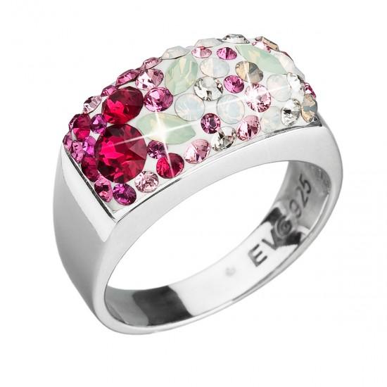 Stříbrný prsten s krystaly Swarovski mix barev červené 35014.3