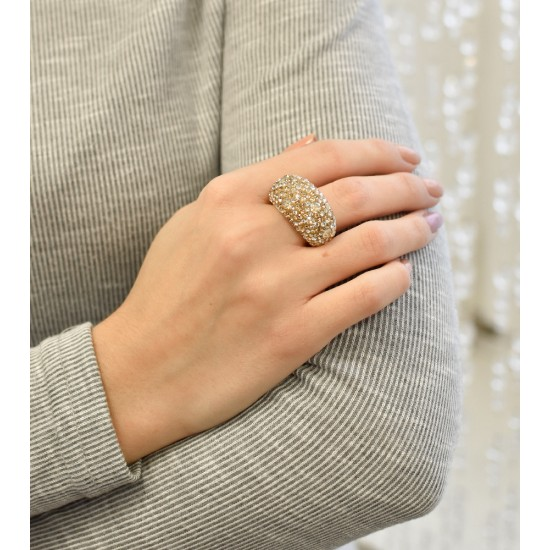 Stříbrný prsten s krystaly Swarovski zlatý 35028.5 Au