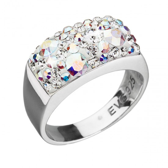 Stříbrný prsten s krystaly Swarovski ab efekt 35014.2