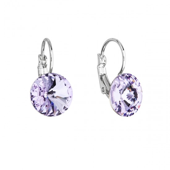 Náušnice bižuterie se Swarovski krystaly fialové kulaté 51002.3 violet