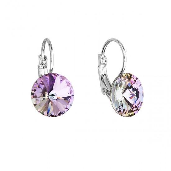 Náušnice bižuterie se Swarovski krystaly fialové kulaté 51002.5