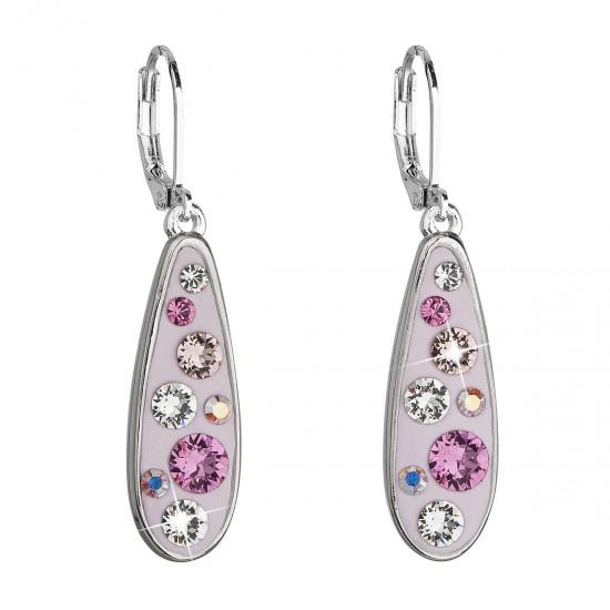 Náušnice bižuterie se Swarovski krystaly růžová kapka 51039.3