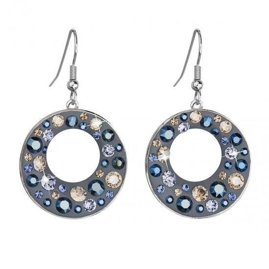 Náušnice bižuterie se Swarovski krystaly modré kulaté 51040.3
