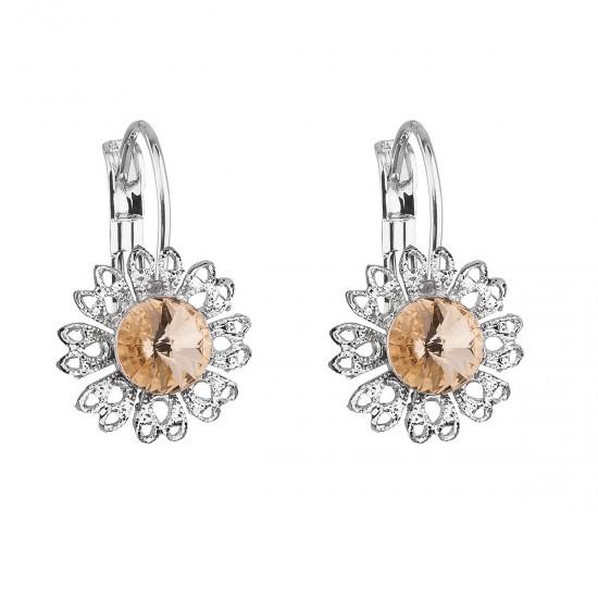 Náušnice bižuterie se Swarovski krystaly oranžová kytička 51041.3 peach