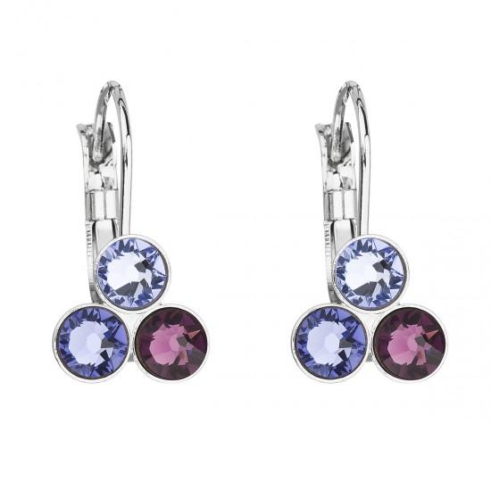 Náušnice bižuterie se Swarovski krystaly fialové kulaté 51047.3