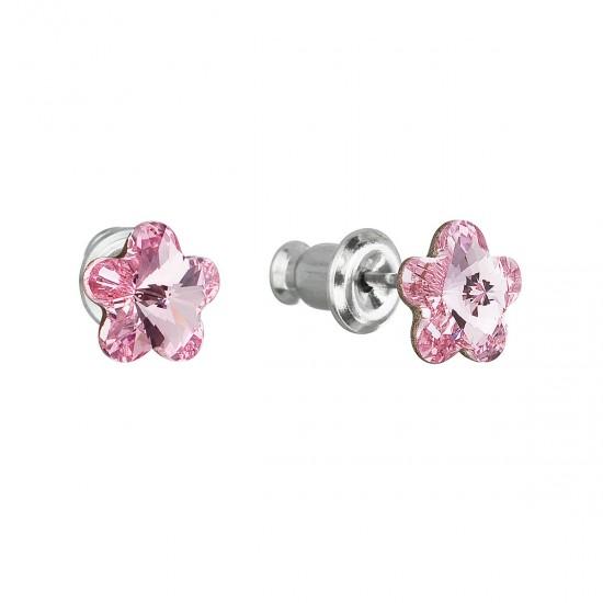 Náušnice bižuterie se Swarovski krystaly růžová kytička 51051.3 rose