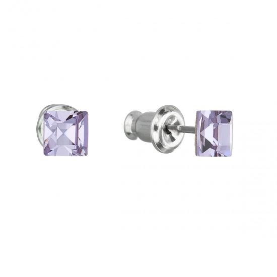 Náušnice bižuterie se Swarovski krystaly fialová čtverec 51052.3 violet