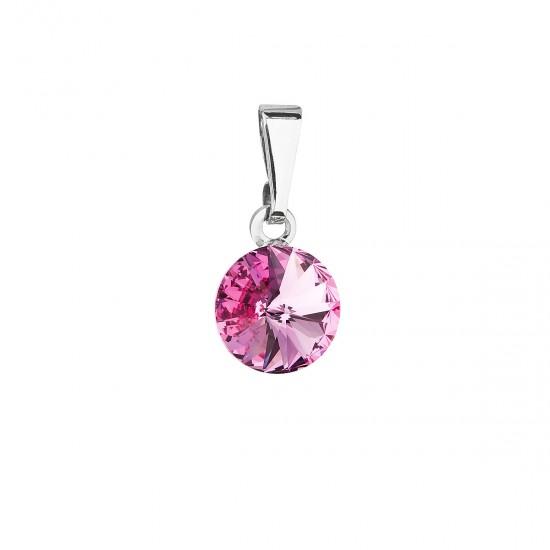 Přívěsek bižuterie se Swarovski krystaly růžový kulatý 54018.3 rose