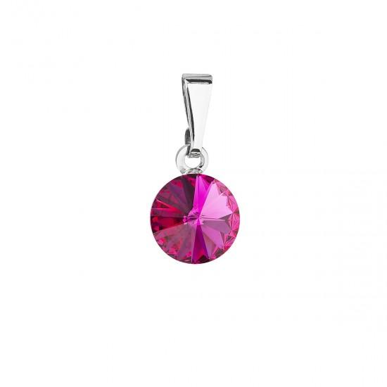Přívěsek bižuterie se Swarovski krystaly růžový kulatý 54018.3 fuchsia