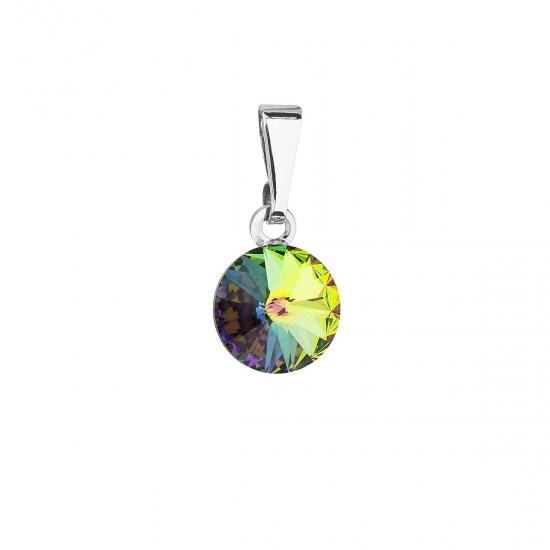 Přívěsek bižuterie se Swarovski krystaly zelený kulatý 54018.5