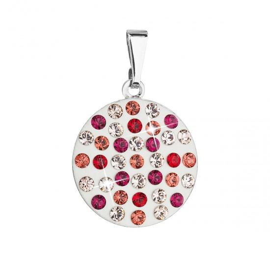 Přívěsek bižuterie se Swarovski krystaly červený kulatý 54021.3