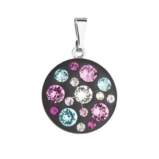 Přívěsek bižuterie se Swarovski krystaly fialový kulatý 54022.3 jet mix