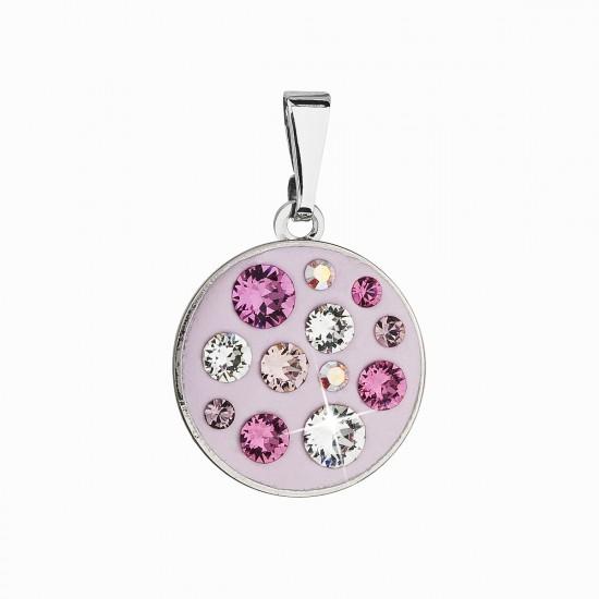 Přívěsek bižuterie se Swarovski krystaly růžový kulatý 54024.3