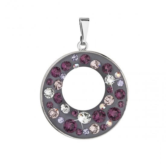 Přívěsek bižuterie se Swarovski krystaly fialový kulatý 54026.3 plum