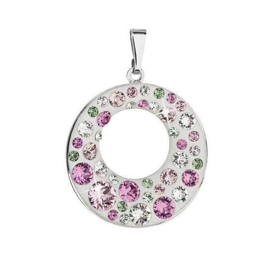 Přívěsek bižuterie se Swarovski krystaly růžový kulatý 54026.3